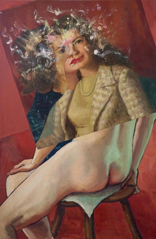"""Body and Spirit #1"", acrylic, painting, collage, maroon, blue, tan, flesh tones - Mixed Media Art by John Baker"