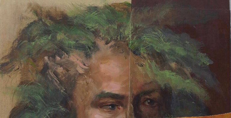 """John Baker's """"Flute Player"""" is an acrylic painting on canvas with collage 20 x 16 x 1.5 inches in flesh tones, oranges, greens and browns. The detail and expression of the player's eyes give a sense of his intense involvement and absorption in his"""