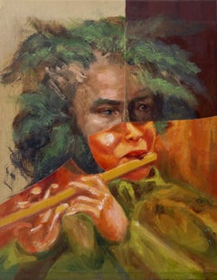 """Flute Player"", acrylic, painting, collage, portrait, music, orange, green"