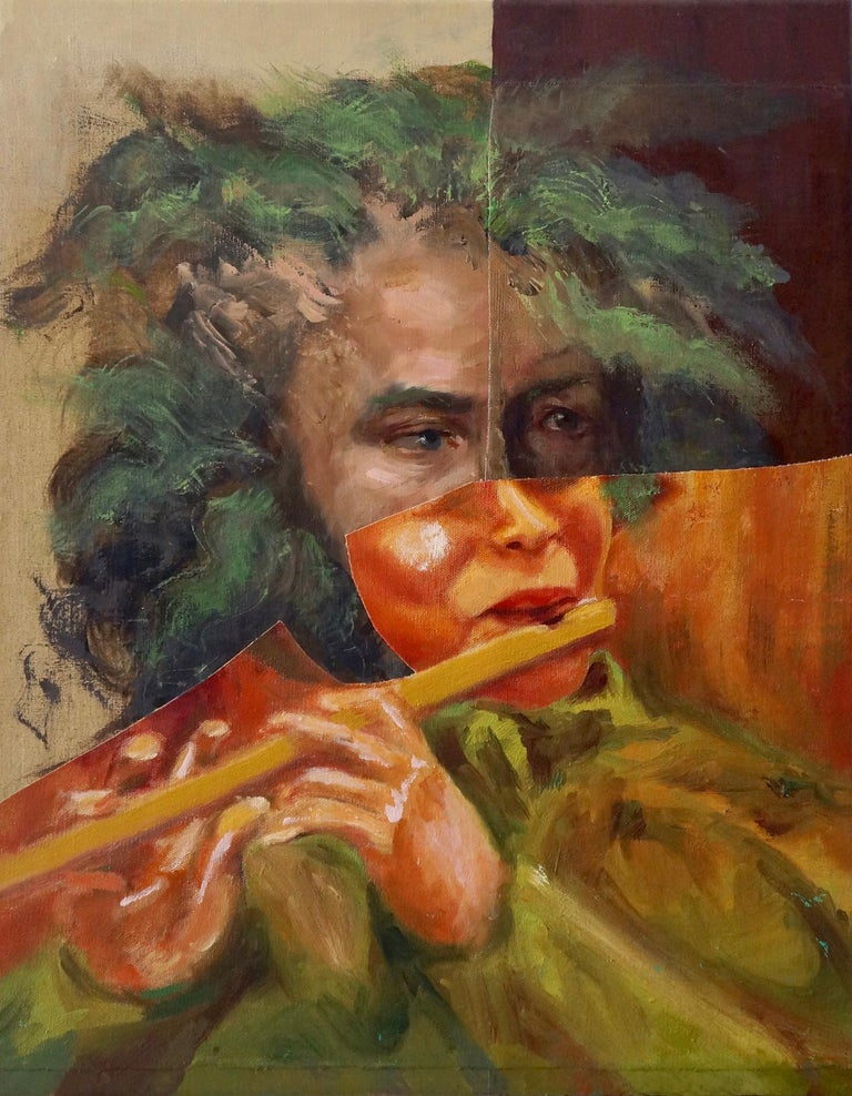 """""""Flute Player"""", acrylic, painting, collage, portrait, music, orange, green - Mixed Media Art by John Baker"""