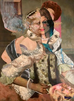 """Imaginary Portrait of Empress Maria Theresa"", acrylic, collage, pinks, silver"
