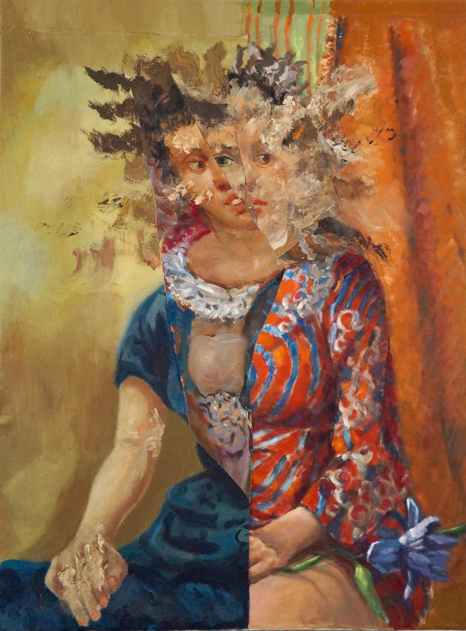 """Indecision"", acrylic, mixed media, portrait, painting, blue, orange, red, white"