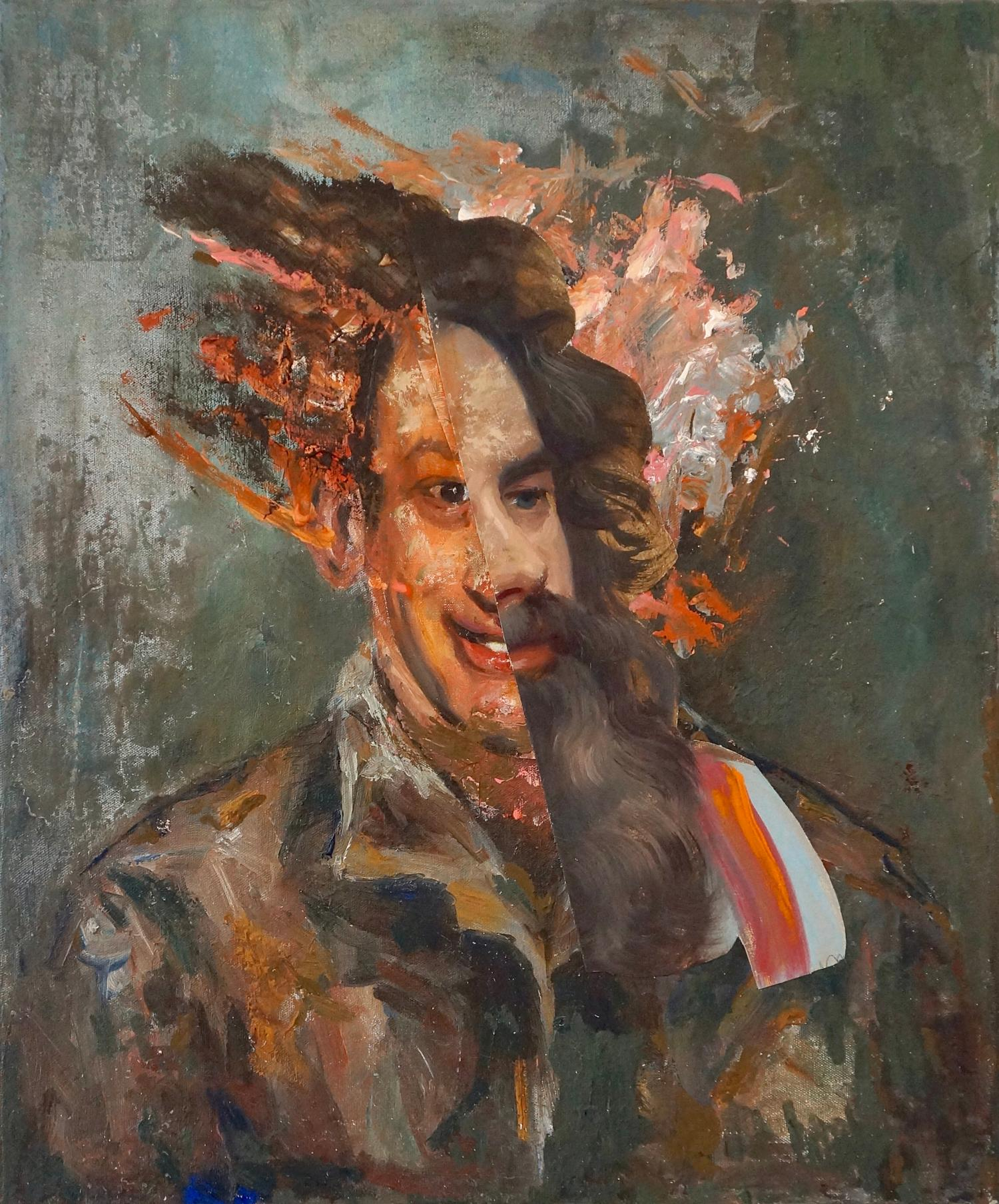 """""""The Philosopher Heraclitus"""", acrylic painting, portrait, collage, browns, pinks"""
