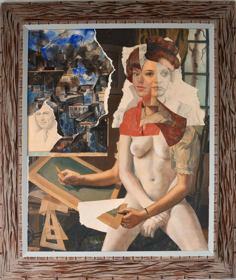 """At the Easel"", acrylic, canvas, collage, portrait, flesh tones, red, blue - Painting by John Baker"