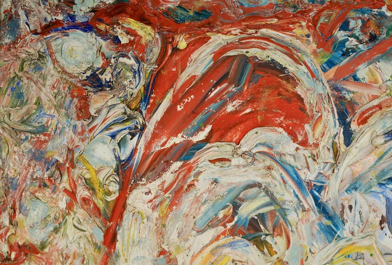 """John Baker's """"Any Three-Year-Old Could Paint That"""" is a 35 x 50 inch acrylic painting on canvas with collage in bright yellows, reds, blues and whites. The young artist wears an expression of impish glee as he continues work with his finger in the"""
