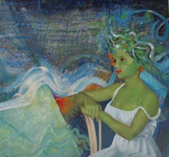 """Aurora"", John Baker, acrylic, mixed media, collage, woman, greens, blues"