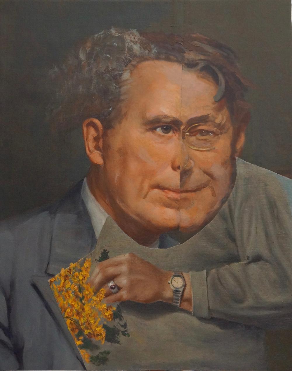 """Down he Goes III"", acrylic, portrait, collage, male, silver, grey, yellow"