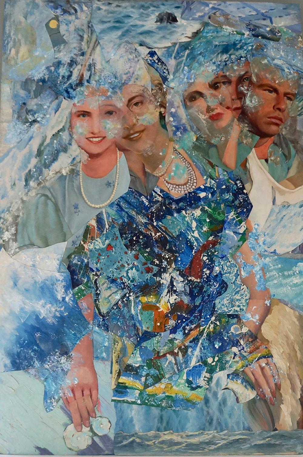 """In the Sea"", acrylic, mixed media, collage, painting, ocean, men, woman"