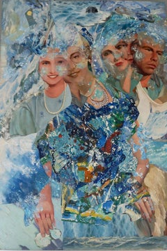 """In the Sea"", John Baker, acrylic, mixed media, collage, ocean, men, woman"