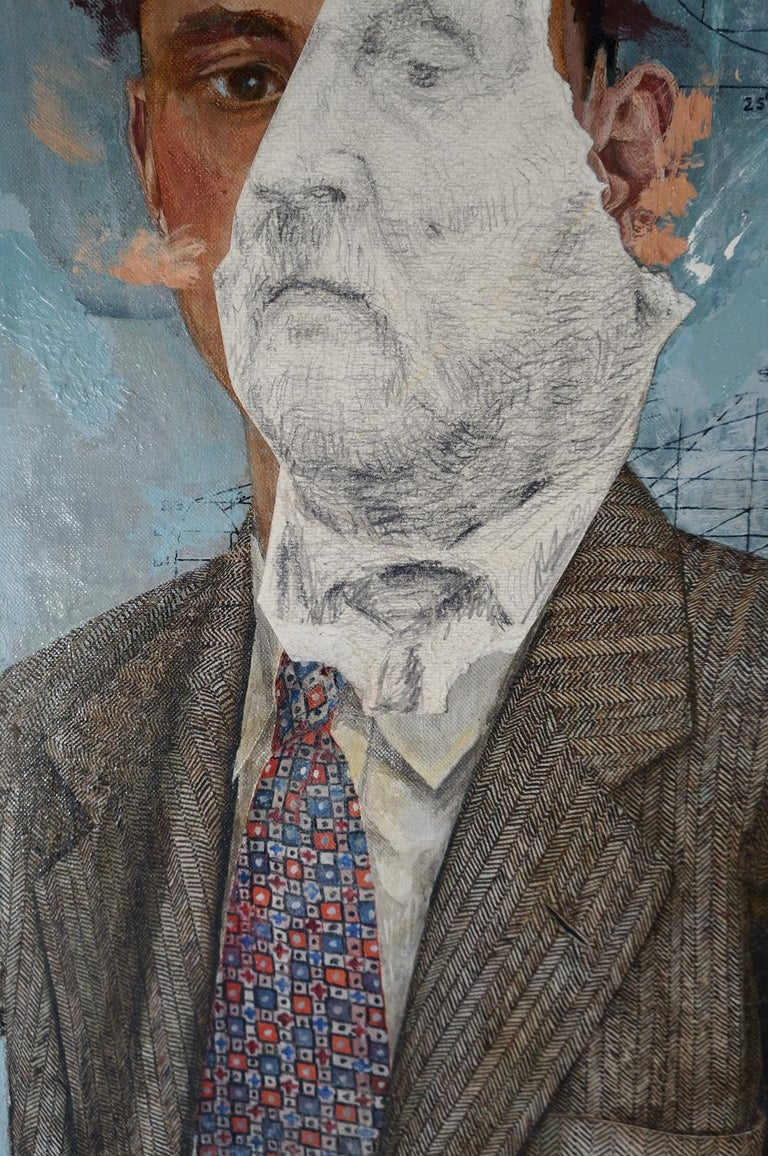 """John Baker's """"Madman I"""" is an acrylic painting on canvas with collage, 27.25 x 23 inches, an imaginary portrait in muted tones of brown and grey. From the artist's """"Insanity"""" series, the painting is a study of pathological hyper-control. The"""