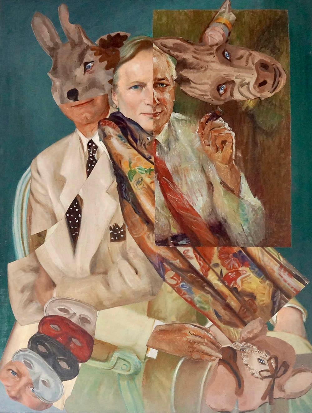 """Masks of a Novelist: An Imaginary Portrait of Tom Wolfe"", acrylic, painting"