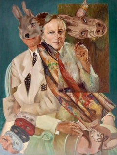 """Masks of a Novelist: the Imagination of Tom Wolfe"", John Baker, acrylic"