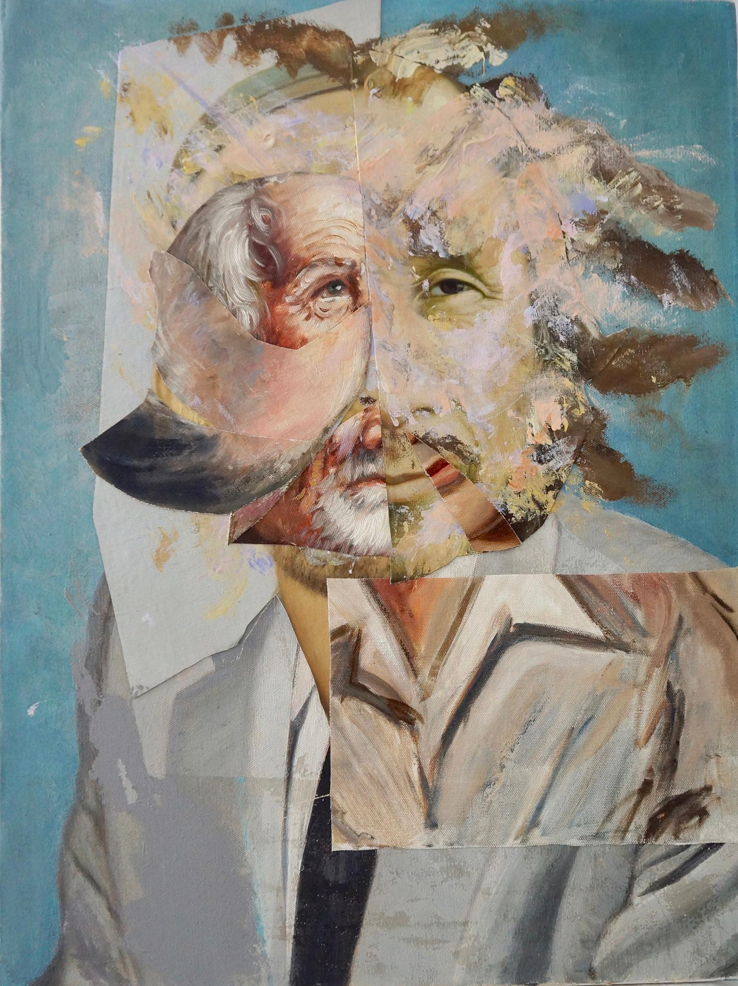 """""""Old Madman 3"""", acrylic painting, portrait, collage, greys, browns, whites"""