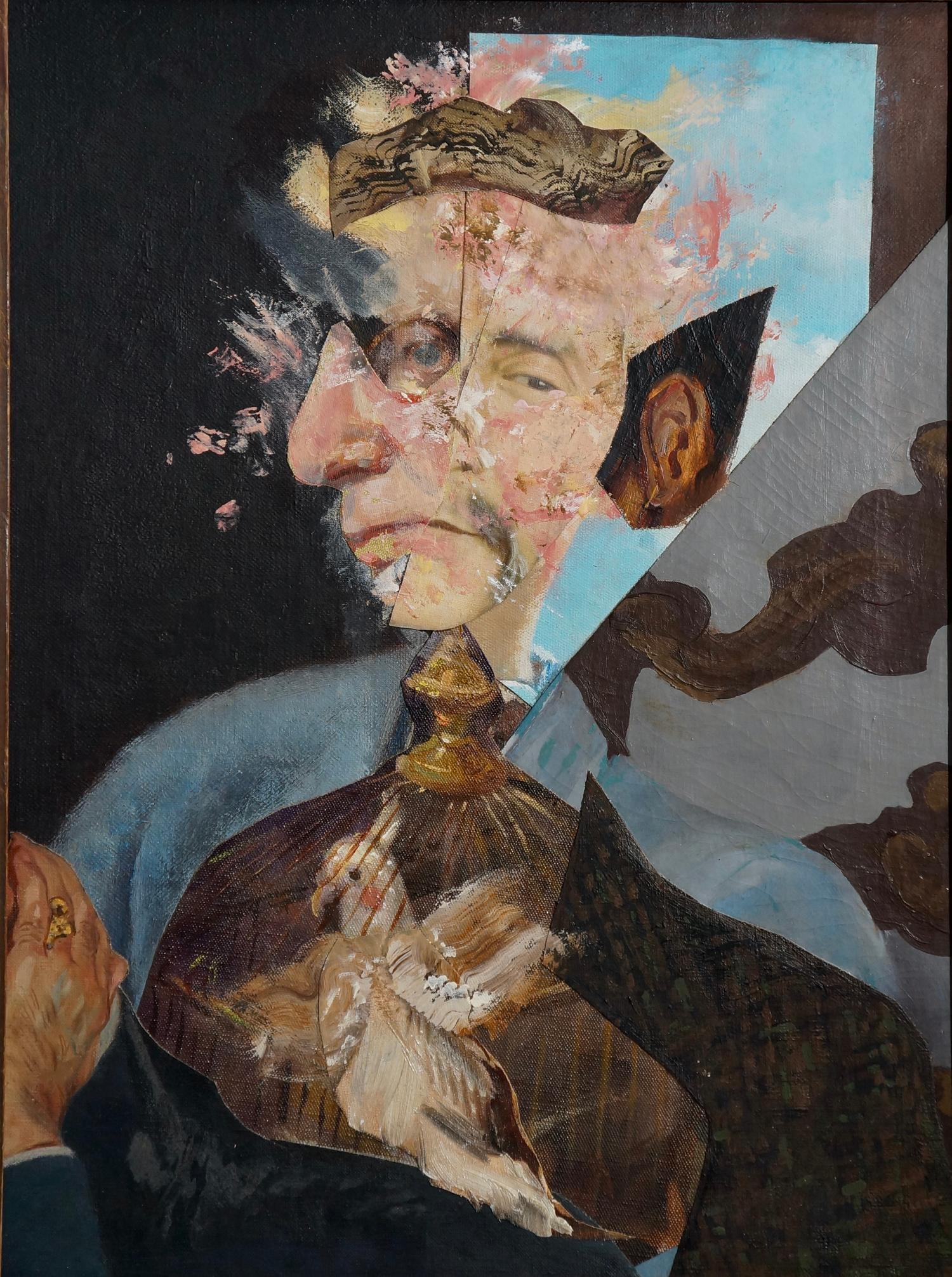 """""""Old Man Releasing a Caged Bird"""", acrylic, portrait, collage, blue, brown"""