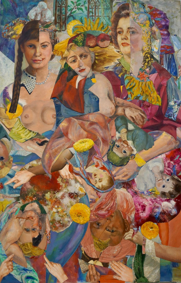 "John Baker Portrait Painting - ""Population Explosion"", acrylic, portrait, collage, pink, blue, red"