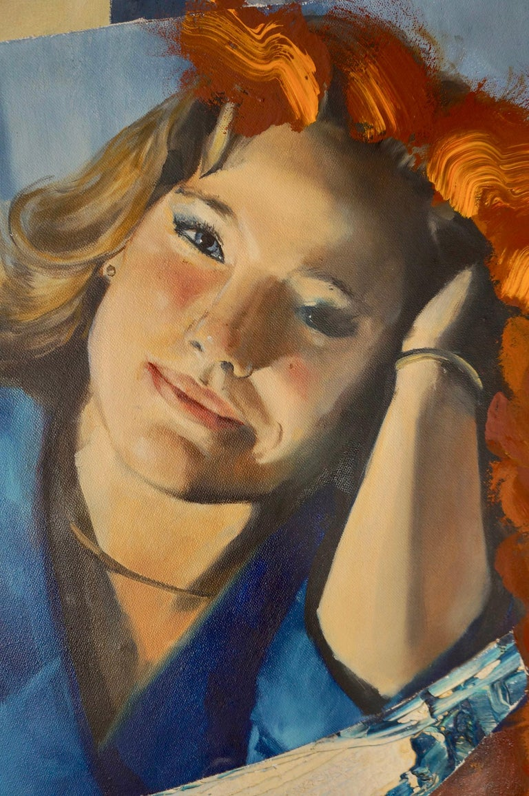 "John Baker's ""Shooting the Rapids"" is an acrylic painting on canvas with collage 48.5 x 36 inches in rich blues with auburn and red counterpoints and highlights. The young woman's mood of contemplative reverie contrasts with the pleased and excited"