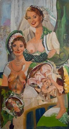 """Shotgun Wedding"", acrylic, portrait, collage, bride, green, white, yellow"