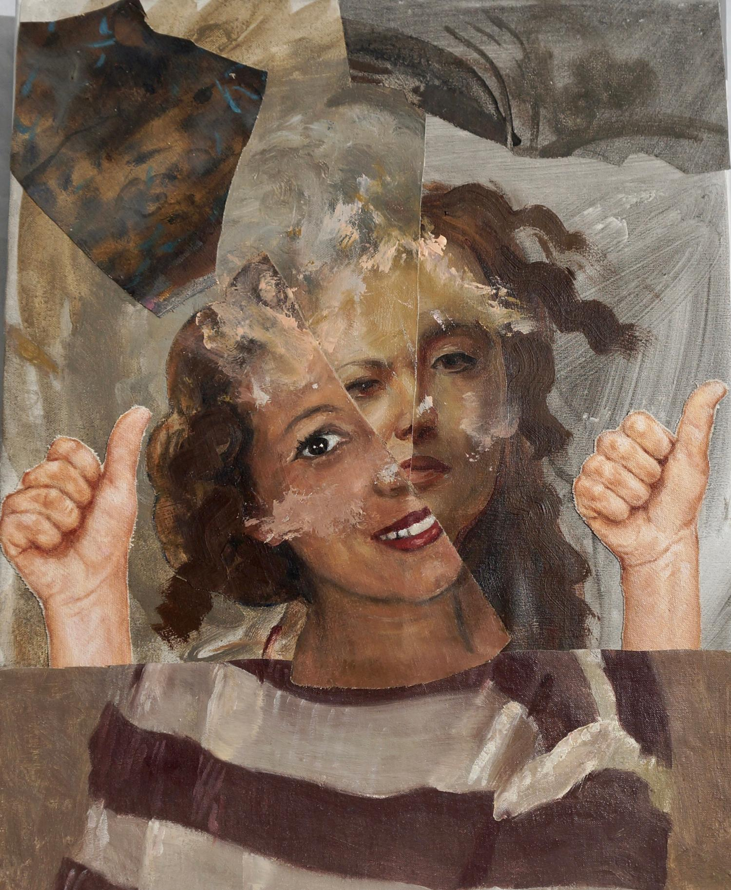 """""""Thumbs Up"""", acrylic painting, portrait, collage, brown, grey, lavender"""