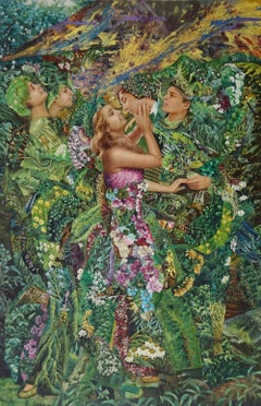 """Tip Toe Kiss II"", John Baker, acrylic, mixed media, collage, forest greens"