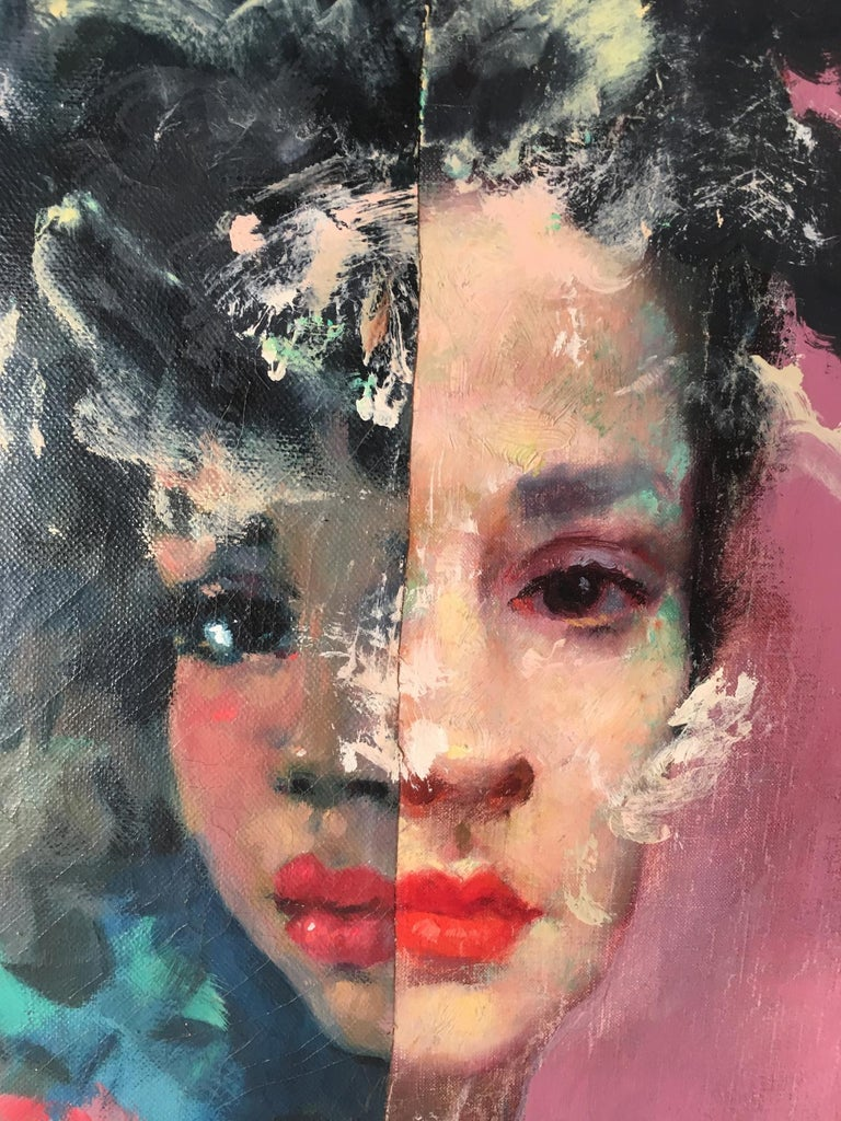 """John Baker's """"Urban Melancholy: An Imaginary Portrait"""" is an acrylic painting on canvas with collage 20 x 16 x 1.5 inches that compounds the reflective sadness of two sisters, one a teenager the other in her twenties. Although the mid-range blues"""