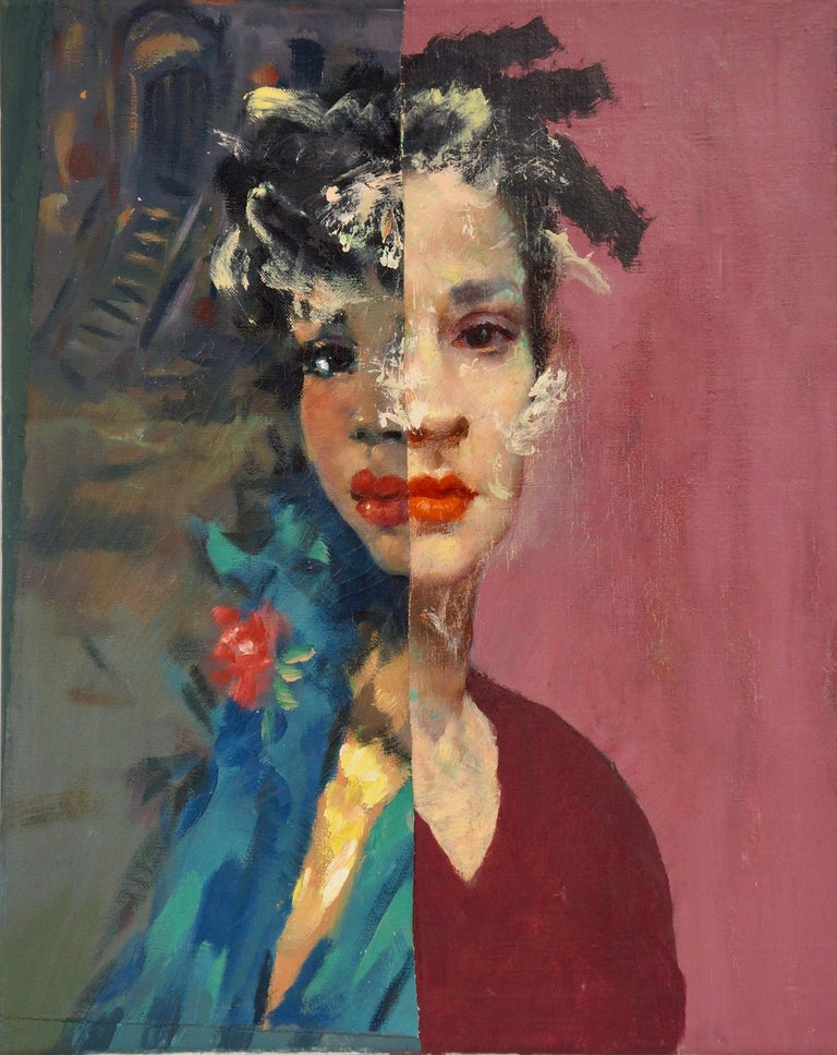 """Urban Melancholy: An Imaginary Portrait"", acrylic, painting, blues, purple - Mixed Media Art by John Baker"
