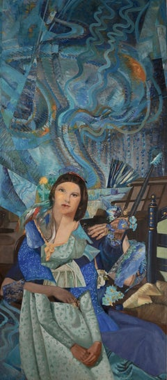 """Imaginary Portrait of Wanda Landowska"", acrylic, mixed media, collage, blues"