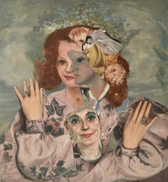 """Young Debutante with a Mask of her Mother"", John Baker, acrylic, mixed media"