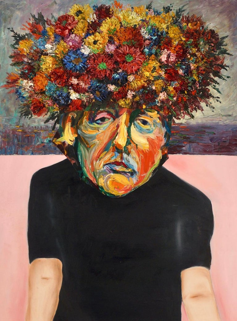 """John Baker's """"Young Man with a Bouquet"""" is an acrylic painting on canvas with collage 48 x 36 inches in strong yellows, reds, blues and greens. The painting depicts a youth sadly contemplating his own insight bouquet. The melancholy in the young"""
