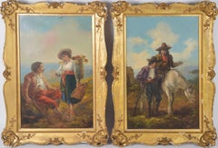 Antique 19th c. Pair of Figural Genre Oil Paintings by John Barker