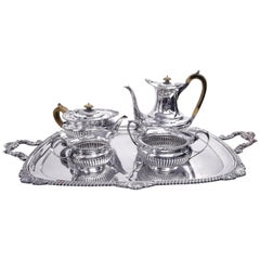 John Barnard & Son English Sterling Silver Tea and Coffee Set, London, 1898