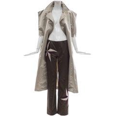John Bartlett Pewter Slik Chameuse Belted Kimono Jacket Pant Ensemble, Spring 01