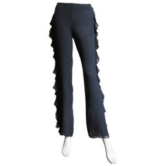 John Bartlett Silk Pants With Side Ruffle