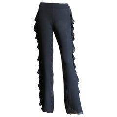 John Bartlett Silk Pants With Side Ruffle