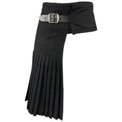 JOHN BARTLETT Size 30 Black Pleated Wool Half Kilt Skirt
