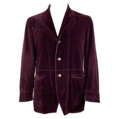 JOHN BARTLETT Size 42 Purple Stitched Cotton Notch Lapel Sport Coat