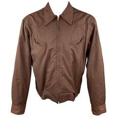 JOHN BARTLETT Size L Brown Cotton / Nylon Zip Up Jacket