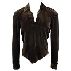 JOHN BARTLETT Size S Brown Velvet V-Neck Pullover