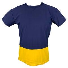 JOHN BARTLETT Size XL Blue & Yellow Color Block Polyamide T-shirt