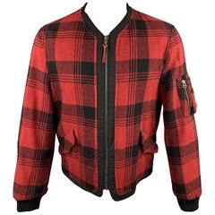 JOHN BARTLETT Uniform Size 40 Red & Black Plaid Wool Blend Zip Up Jacket