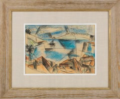 Abstract Cubist Seascape Pastel Painting by John Begg
