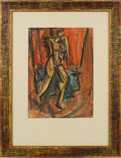 Brutalist Nude Study Pastel Painting by John Begg