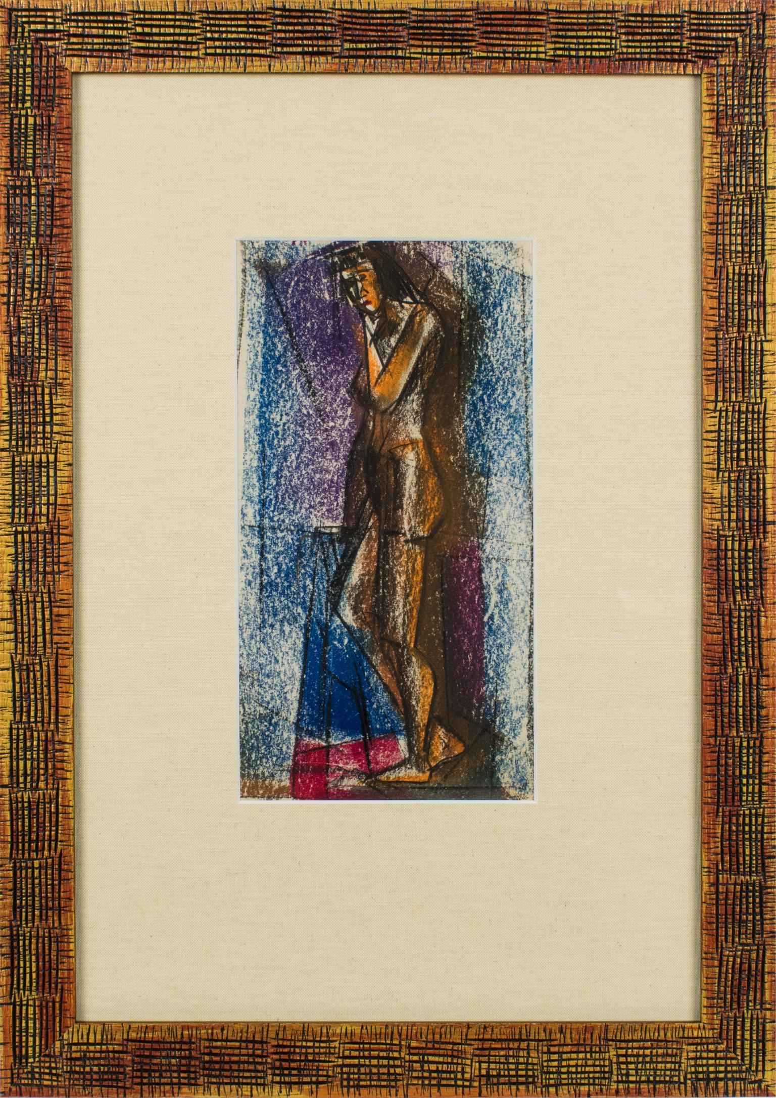 Cubist Nude Study Pastel Painting by John Begg