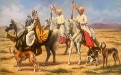 """""""The Falconer"""", John Berry, Oil on Canvas, 27x40 in., Horse, Dog, Falcons"""
