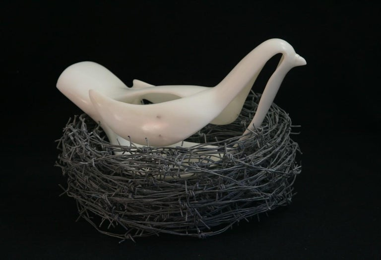 This one-of-a-kind sculpture is created using Italian Statuario Marble with a Barbed Wire 'nest'. It is signed on the bottom by the artist. The Barbed Wire is removable for hassle-free shipping and Installation.   John Bizas (Greek, b. 1980)