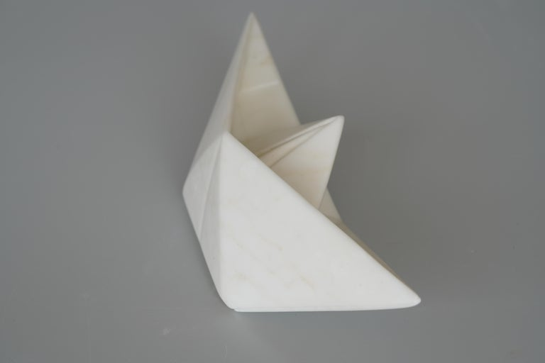 This marble sculpture is hand carved with Carrera statuario marble! John Bizas was born on Chios island/Greece in 1980. From early age he was interested in fine arts and soon got involved in doing sculpture. The material he prefers to use is mainly