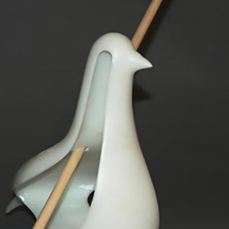 This one-of-a-kind sculpture is created using Italian Statuario Marble with a Wooden Arrow. It is signed on the bottom by the artist. The arrow is removable for hassle-free shipping and Installation.   John Bizas (Greek, b. 1980) combines