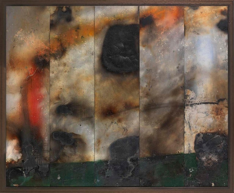 John Blackburn Abstract Painting - Fire Painting XX - Contemporary, mixed media abstract painting