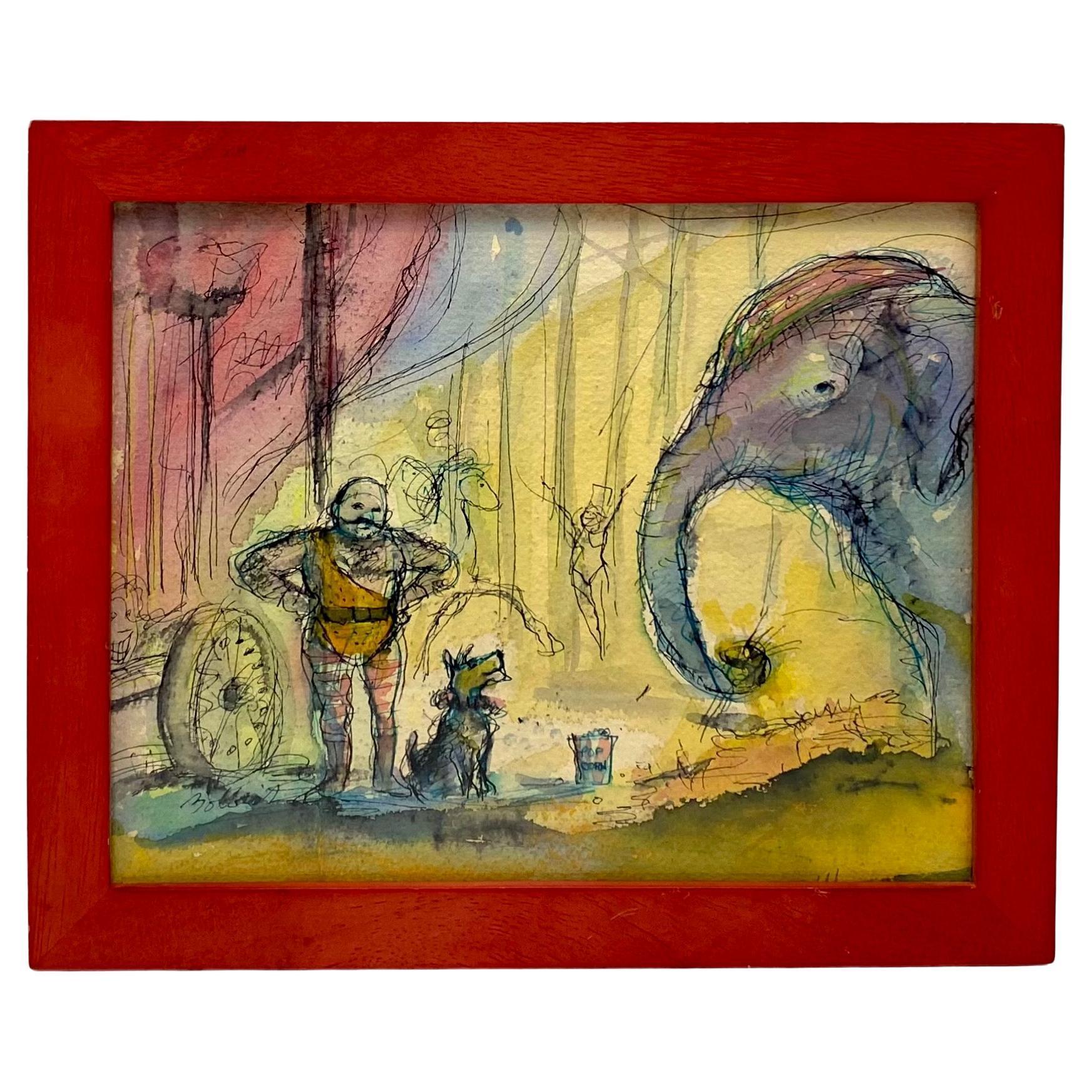 John Bobbish Circus Watercolor and Drawing