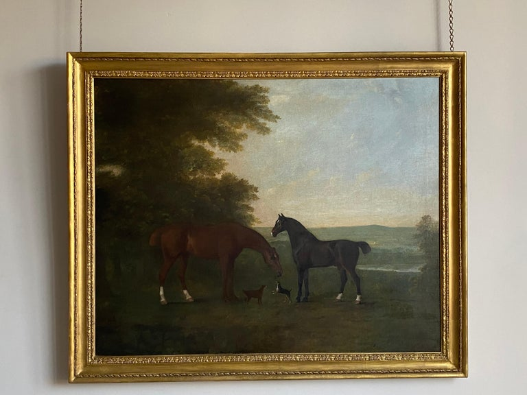 Horses with accompanying dogs in an extensive English landscape, 18th century - Painting by John Boultbee