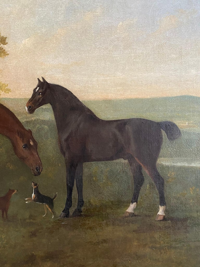 Horses with accompanying dogs in an extensive English landscape, 18th century - English School Painting by John Boultbee